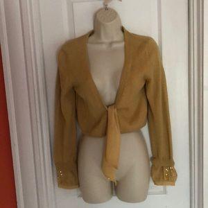 Fancy Mustard Shrug w/ Sequined Cuffs & Tie Front